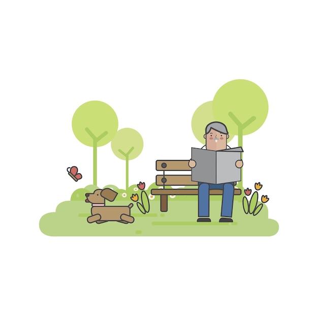 Ilustração, de, um, homem, com, seu, cão Vetor grátis
