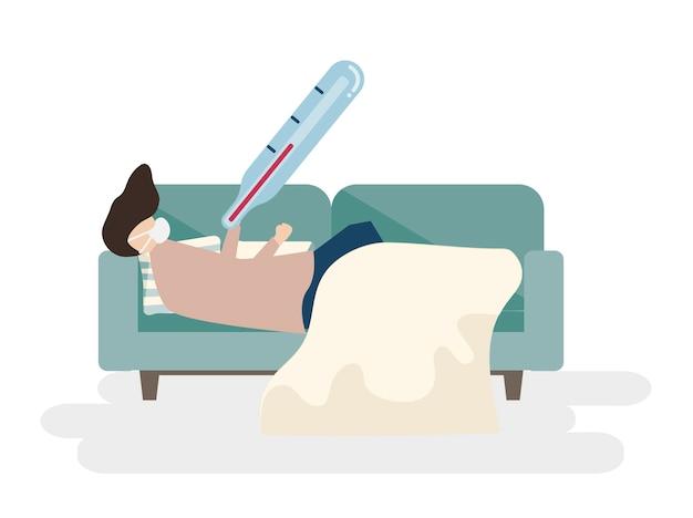 Ilustração de um homem doente em um sofá Vetor grátis