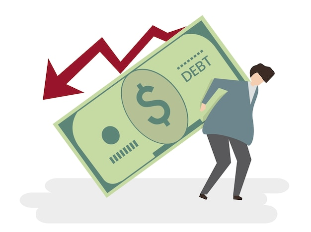 Ilustração, de, um, homem, em, dívida Vetor grátis