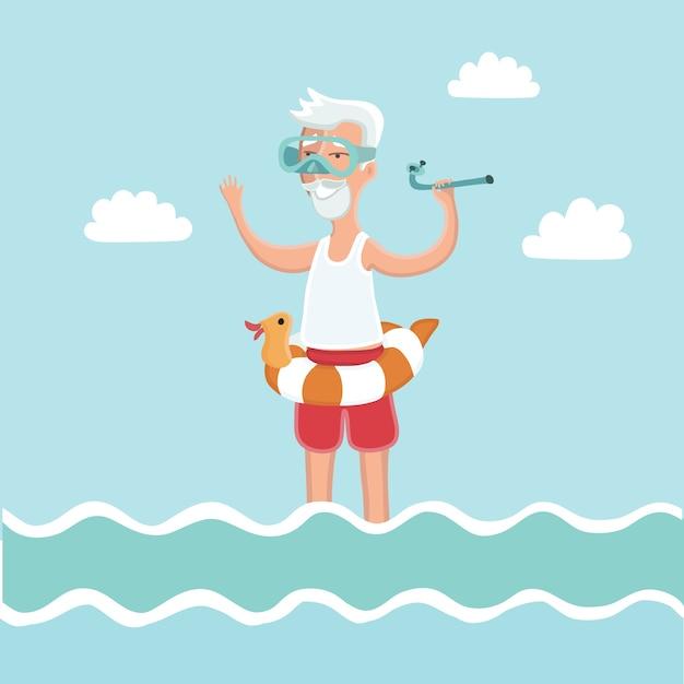 Ilustração de um homem idoso parado na água do mar com uma máscara de mergulho no rosto e um tubo de mergulho na mão Vetor Premium