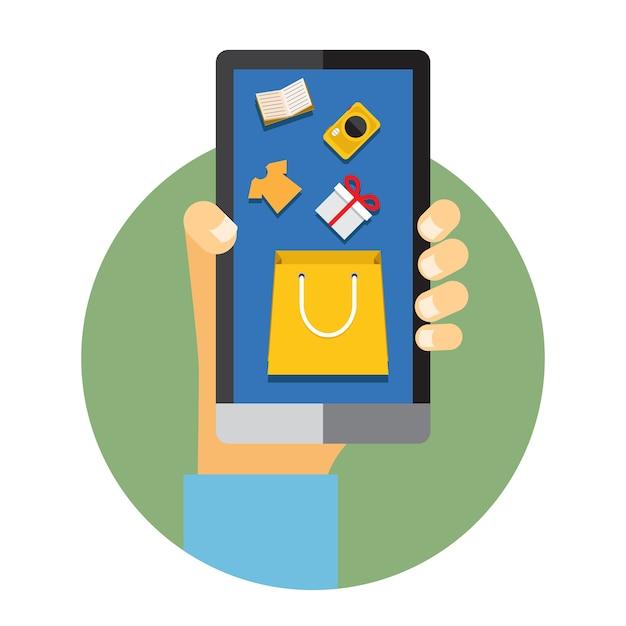 Ilustração de um homem segurando um telefone celular com internet ou elementos de compras online Vetor grátis