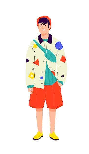 Ilustração de um jovem em uma camisa de vanguarda brilhante. hipster elegante em shorts laranja. Vetor Premium