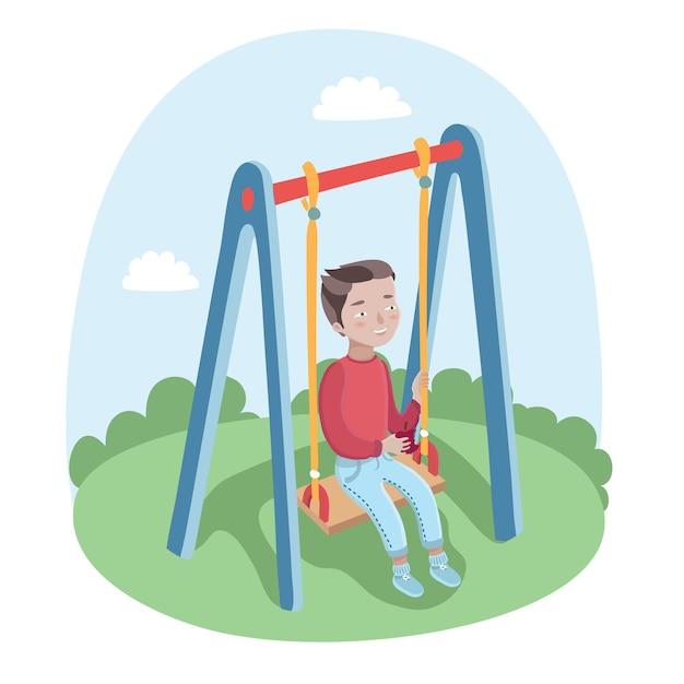 Ilustração de um lindo menino feliz em balanços no parque Vetor Premium