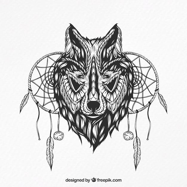 Ilustração de um lobo com apanhadores de sonho Vetor grátis