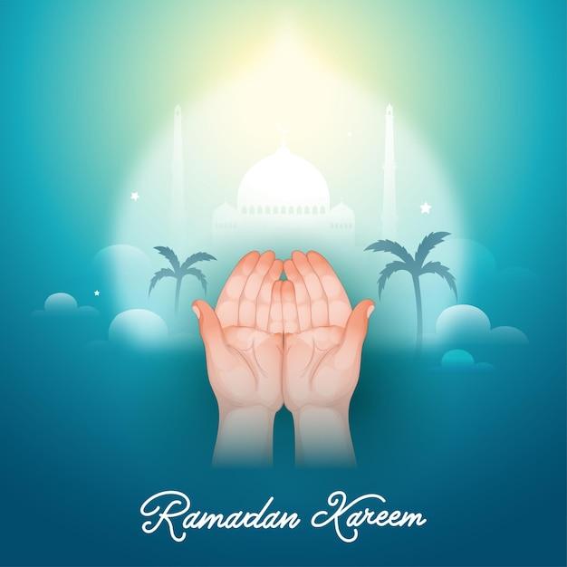 Ilustração de um muçulmano orando ou de mãos vazias abertas Vetor Premium