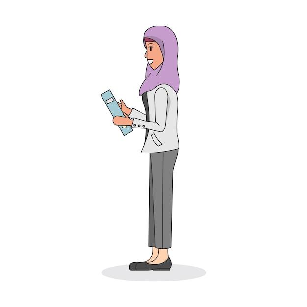 Ilustração, de, um, mulher, desgastar, um, hijab Vetor grátis