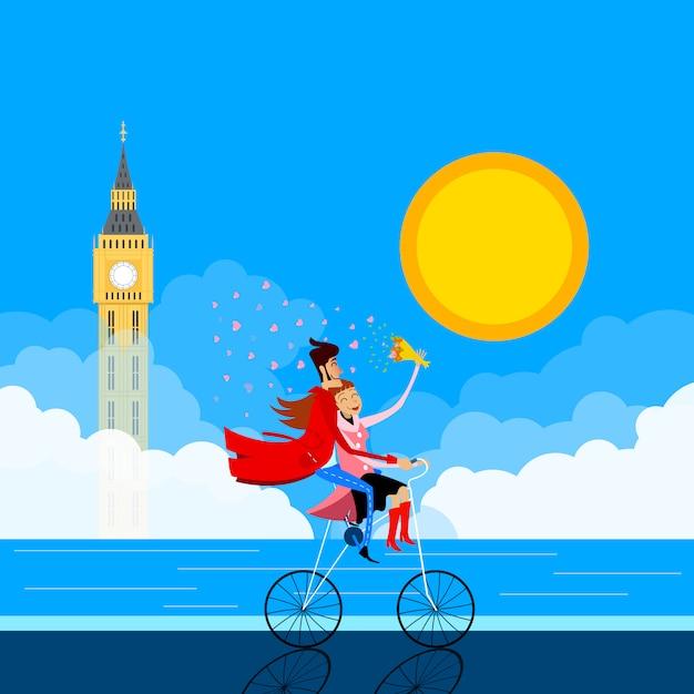 Ilustração de um par em uma bicicleta na frente do big ben. cartão para o dia dos namorados Vetor Premium
