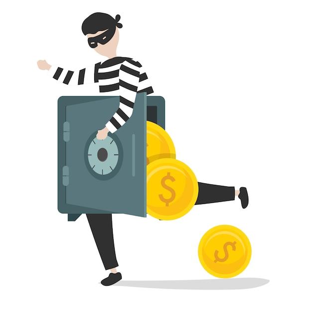 Ilustração de um personagem de ladrão Vetor grátis