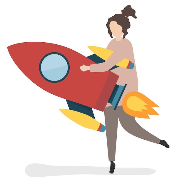 Ilustração, de, um, personagem, lançamento, com, um, foguete Vetor grátis