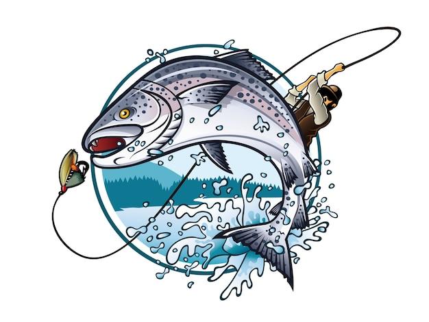 Ilustração de um pescador está puxando a vara de pescar enquanto salmão pulando para pegar a isca Vetor Premium