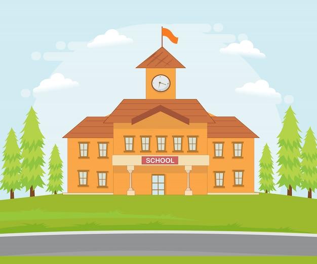 Ilustração de um prédio da escola. Vetor Premium