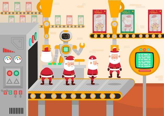 Ilustração de um transportador de natal. robô embala brinquedos papais noéis. Vetor Premium