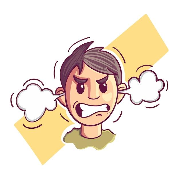 Ilustração, de, um, zangado, homem Vetor Premium