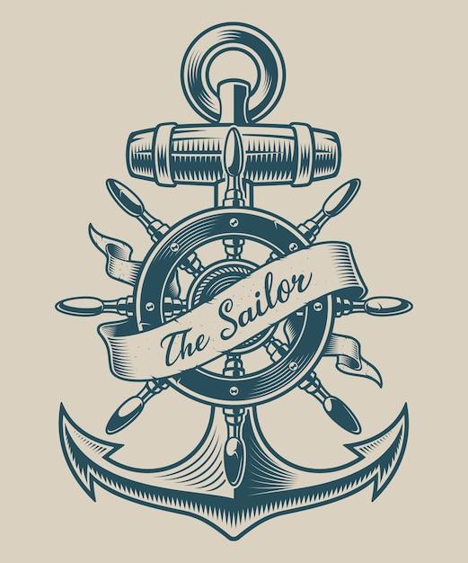 Ilustração de uma âncora vintage e da roda do navio. perfeito para logotipos, design de camisetas e muitos outros Vetor Premium