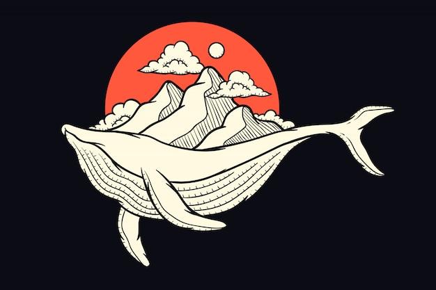Ilustração de uma baleia carregando uma montanha para design de impressão Vetor Premium