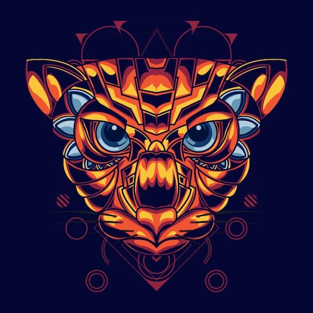 Ilustração de uma cabeça de gato com combinação de cor ouro e vermelho Vetor Premium
