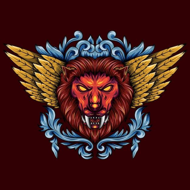 Ilustração de uma cabeça de leão mítico alado dourado Vetor Premium