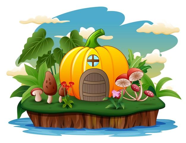 Ilustração de uma casa de abóbora na ilha Vetor Premium