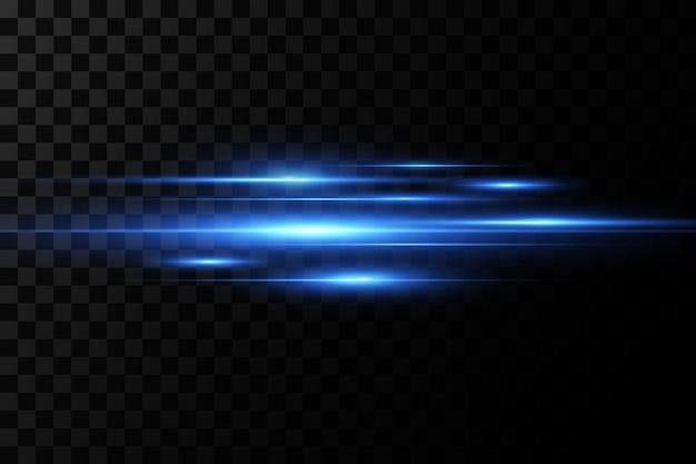 Ilustração de uma cor azul. efeito de luz. feixes de laser abstratos de luz. raios de luz neon caóticos. Vetor Premium
