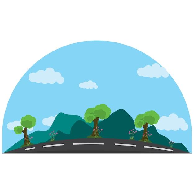 Ilustração de uma estrada tranquila ao lado das montanhas Vetor Premium