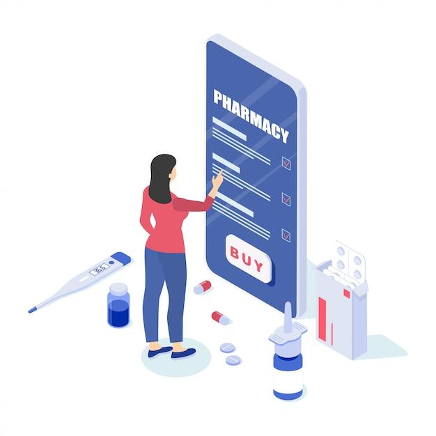 Ilustração de uma farmácia on-line Vetor Premium