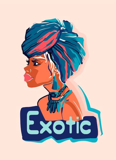 Ilustração de uma garota africana usando brincos e lenços de cabeça bonitos. Vetor Premium