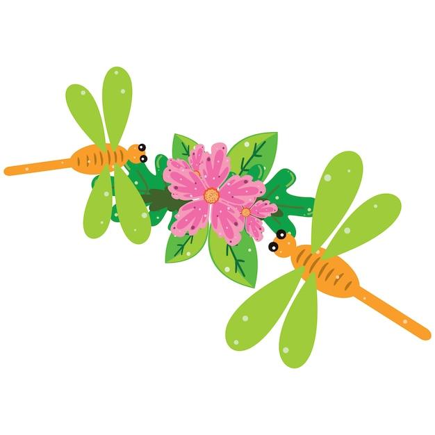 Ilustração de uma libélula verde no cimo de flores e folhas Vetor Premium