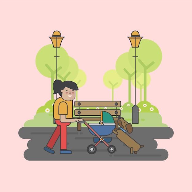 Ilustração de uma mãe e um cachorro Vetor grátis