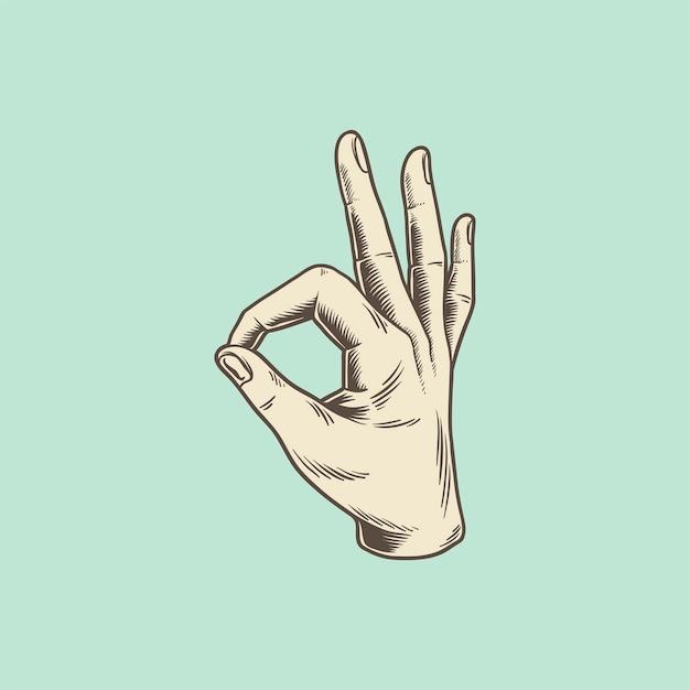 Ilustração de uma mão fazendo um sinal de ok Vetor grátis