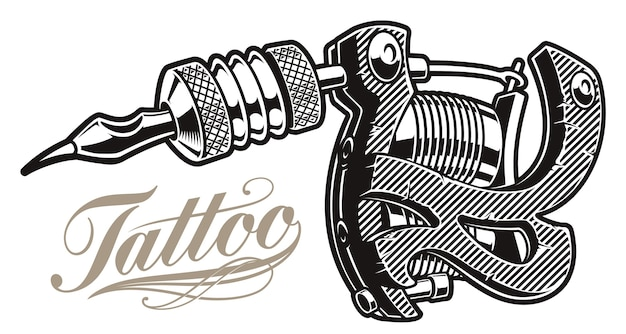 Ilustração de uma máquina de tatuagem em um fundo branco. todos os itens estão em grupos separados. Vetor Premium