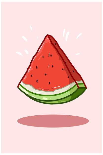 Ilustração de uma melancia fatiada Vetor Premium