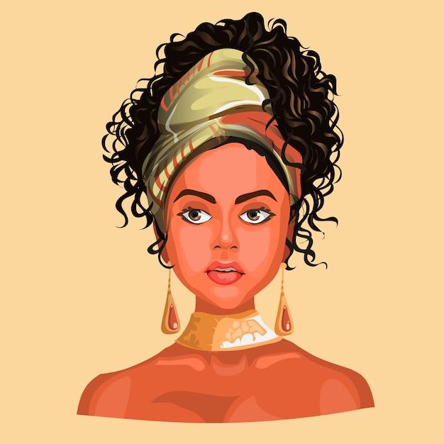 Ilustração de uma menina africana ou latinos, usando lenços e brincos bonitos. Vetor Premium