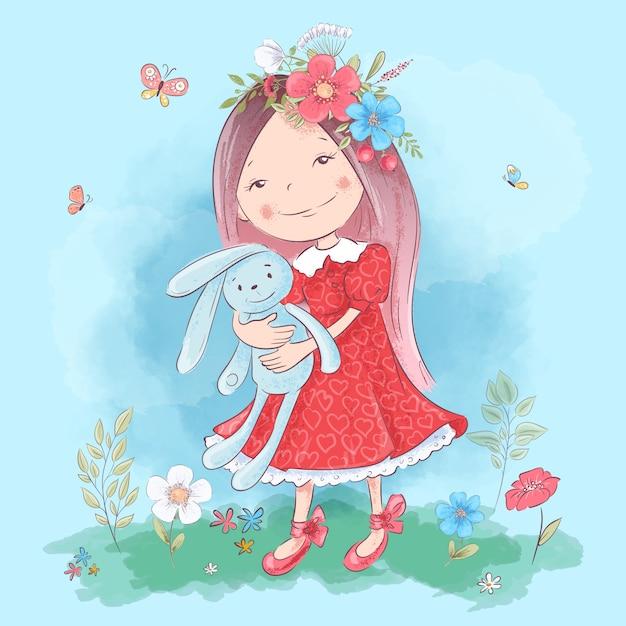 Ilustração de uma menina bonito dos desenhos animados com um brinquedo Vetor Premium