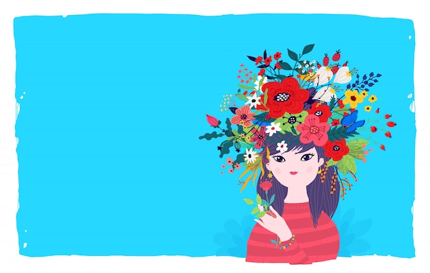 Ilustração de uma menina da mola em uma grinalda das flores em um fundo azul. vetor. Vetor Premium