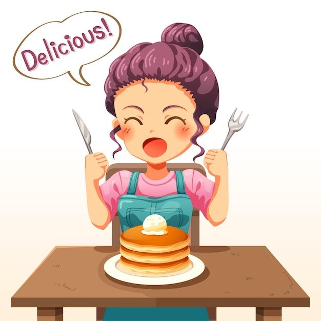 Ilustração de uma menina de criança comendo panquecas Vetor Premium