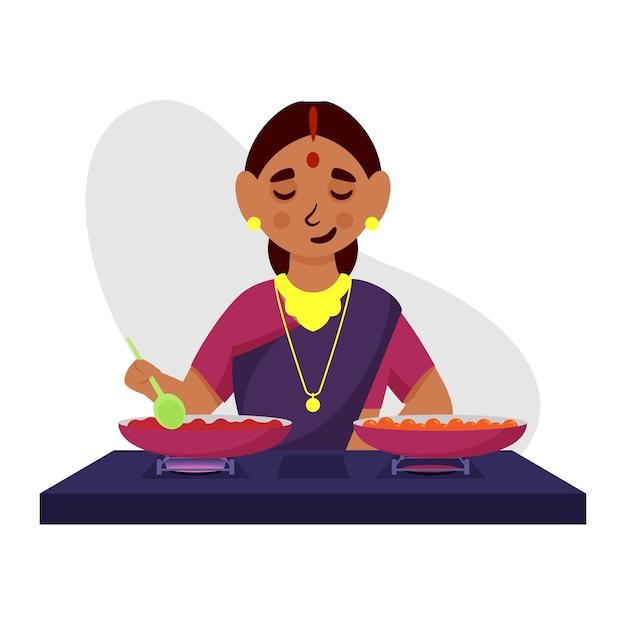 Ilustração de uma mulher indiana cozinhando na cozinha Vetor Premium