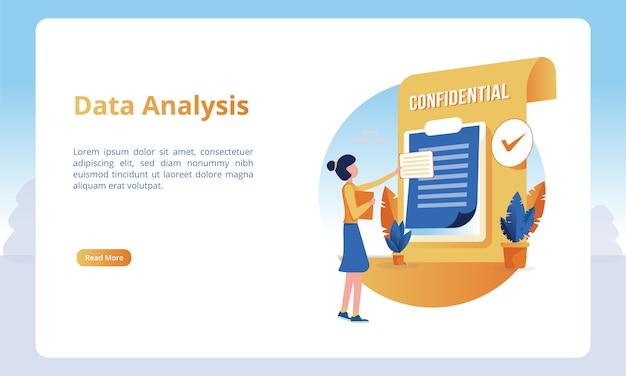 Ilustração de uma pessoa analisando dados para obter modelos de uma página de destino Vetor Premium