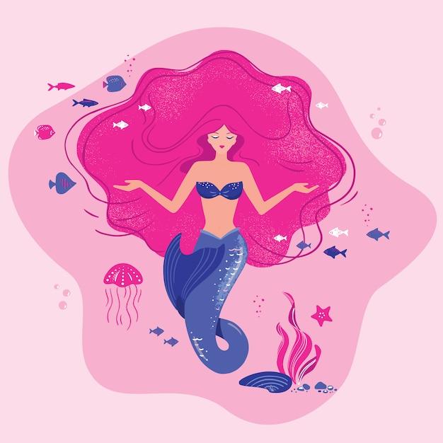 Ilustração de uma sereia meditando com cabelos soltos no fundo do oceano com conchas nas mãos. Vetor Premium