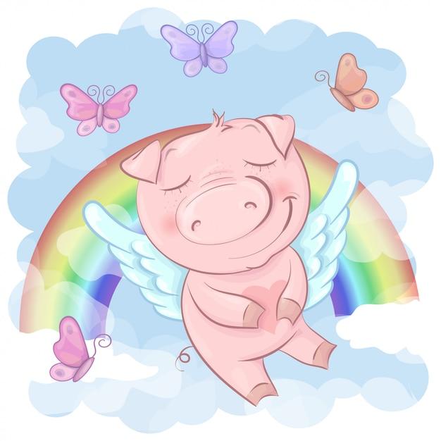Ilustração de uns desenhos animados bonitos do porco em um arco-íris. vetor Vetor Premium