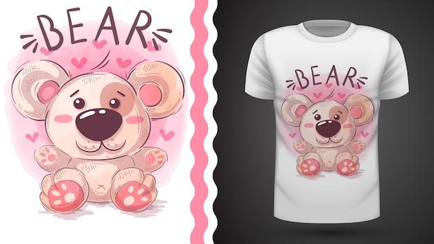 Ilustração de ursinho de pelúcia para design de t-shirt Vetor Premium