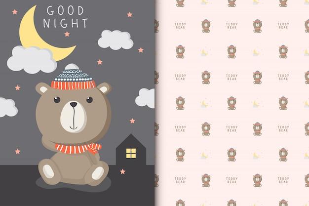 Ilustração de ursinho fofo com padrão sem emenda Vetor Premium