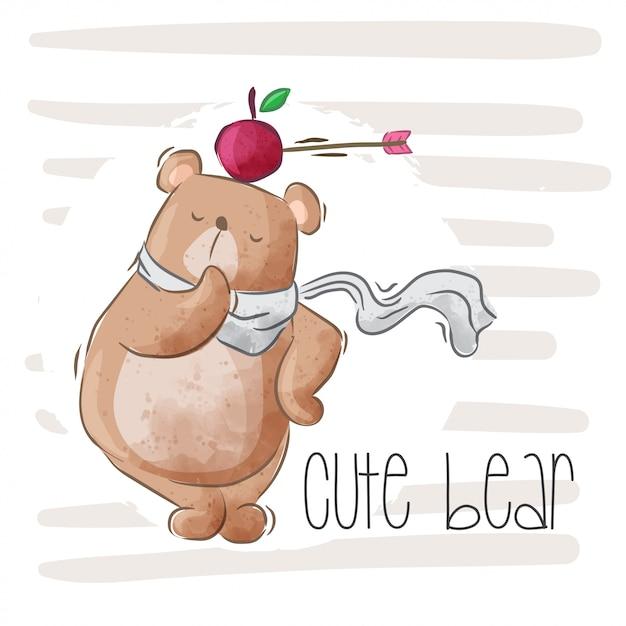 Ilustração de urso bebê fofo para crianças-vetor Vetor Premium