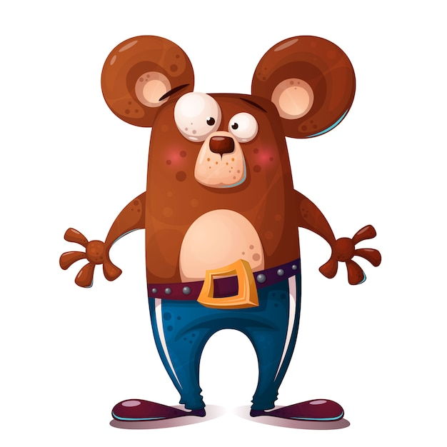 Ilustração de urso bonito, engraçado. caráter animal. Vetor Premium