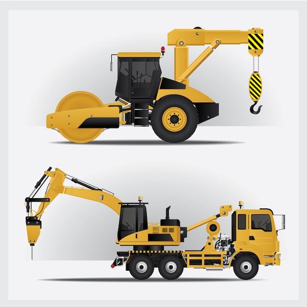 Ilustração de veículos de construção Vetor Premium