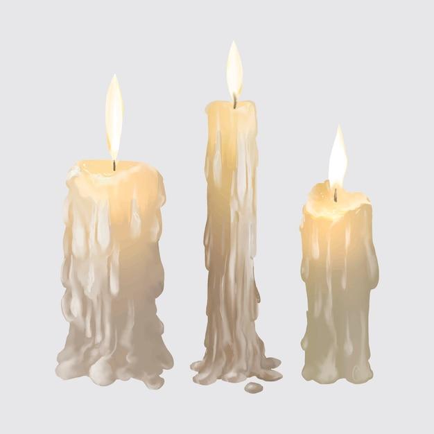 Ilustração, de, velas, ícone, para, dia das bruxas Vetor grátis