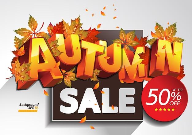 Ilustração de venda de outono Vetor Premium