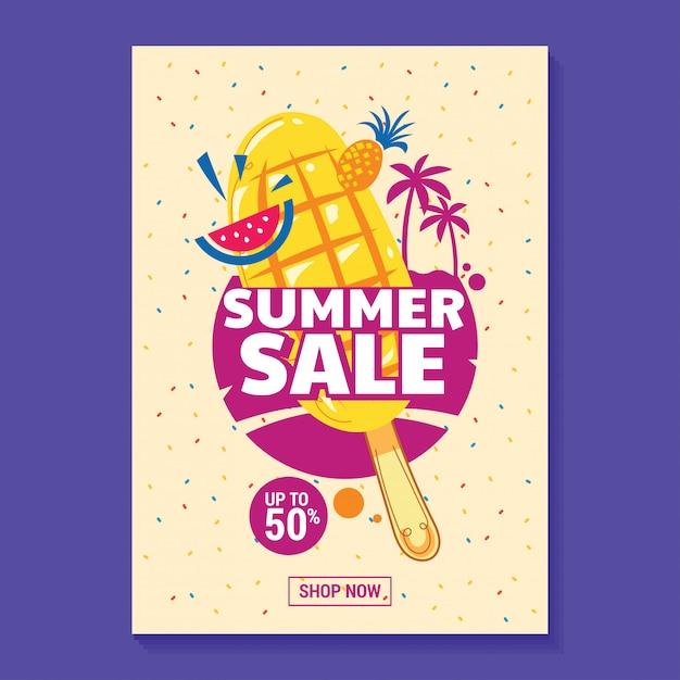 Ilustração de venda de verão com fundo de picolé, praia e folhas tropicais Vetor Premium