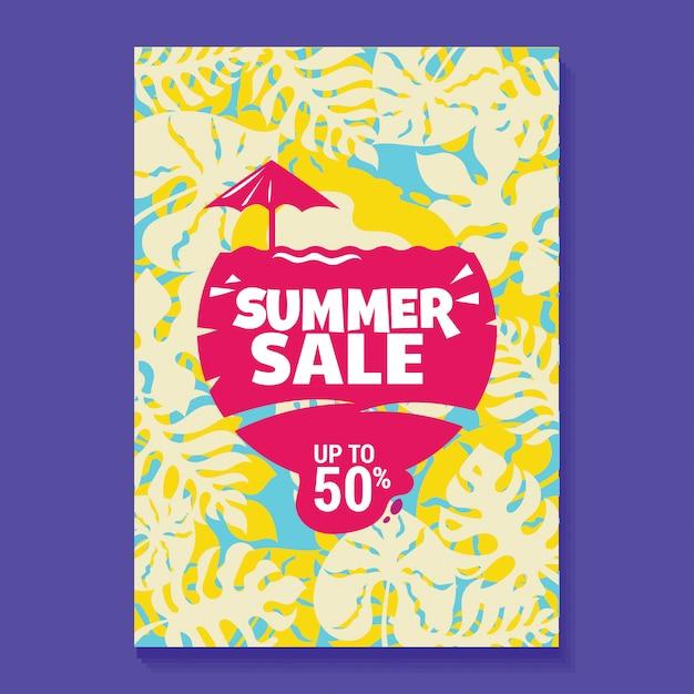 Ilustração de venda de verão poster com picolé, praia e folhas tropicais fundo Vetor Premium