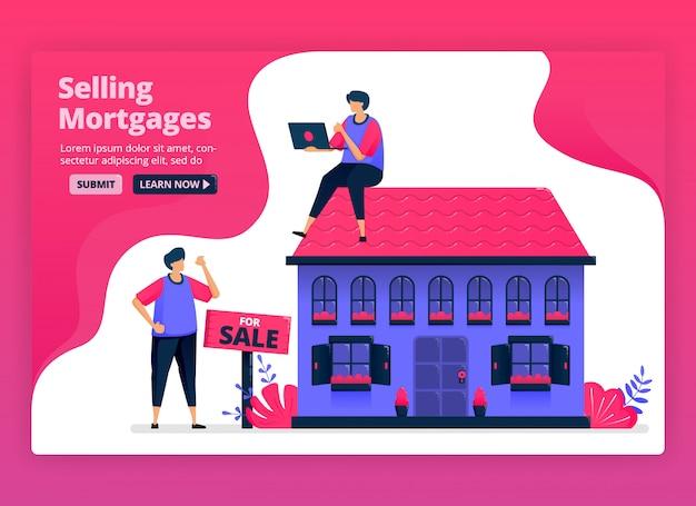 Ilustração de venda e compra de imóveis e imóveis com hipotecas baratas. financiamento para compras de casas pelos bancos. Vetor Premium