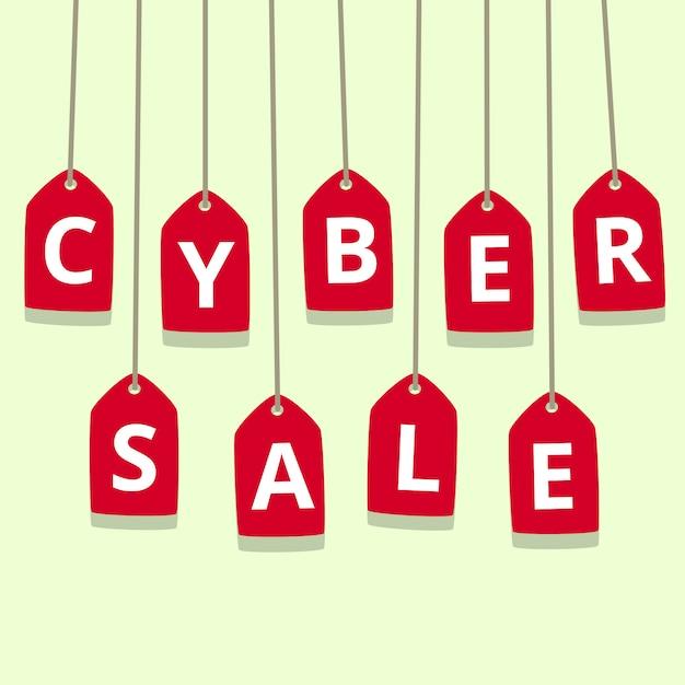 Ilustração de venda segunda-feira plana cyber com preço vermelho Vetor Premium
